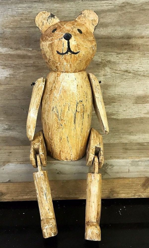 Old Fashioned Teddy Bear Vintage Finish Wooden Puppet Ornament 40 cm